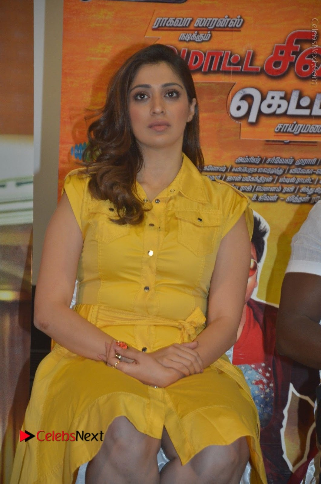 Raai Lakshmi Stills in Yellow Short Dress at Motta Shiva Ketta Shiva