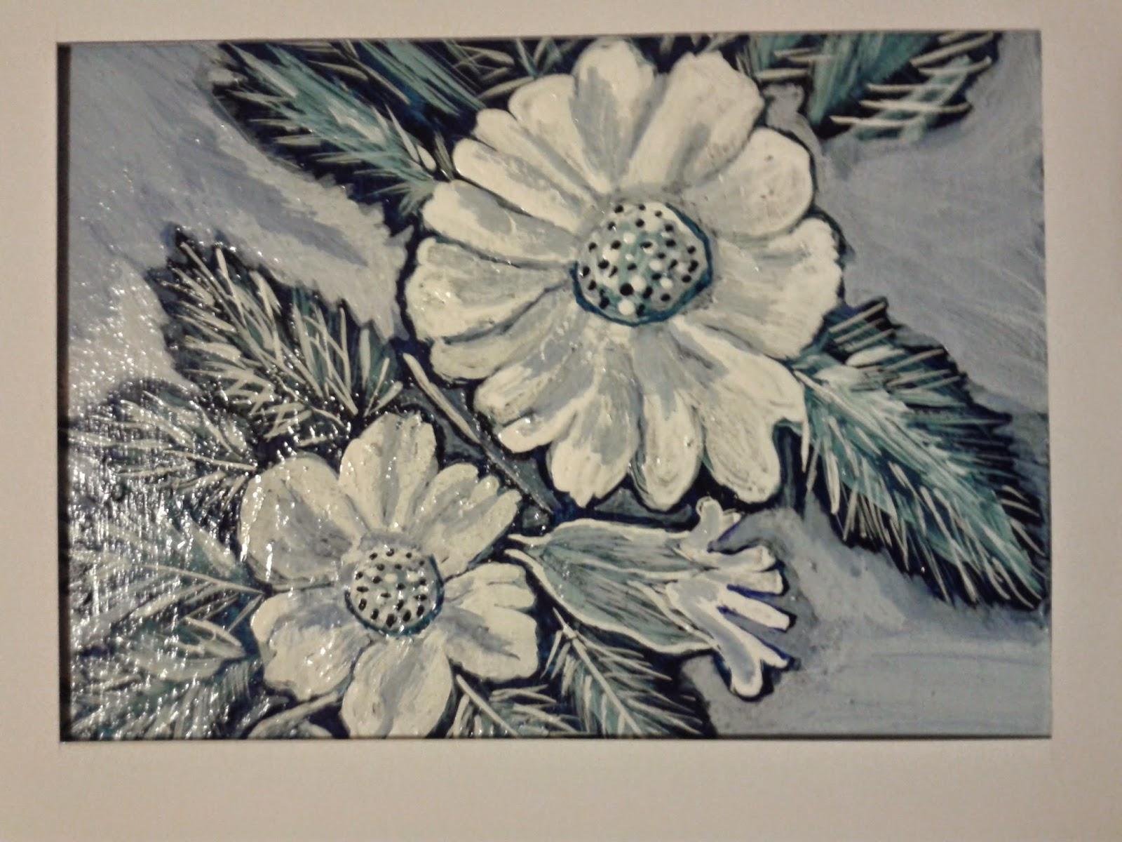 obraz białe kwiaty ręcznie malowany