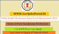 Chhattisgarh Public Health Mechanical Department Recruitment 2018 – 48 Handpump Technician