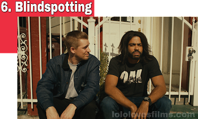 Blindspotting 2018 drama movie still Daveed Diggs Rafael Casal sitting on porch