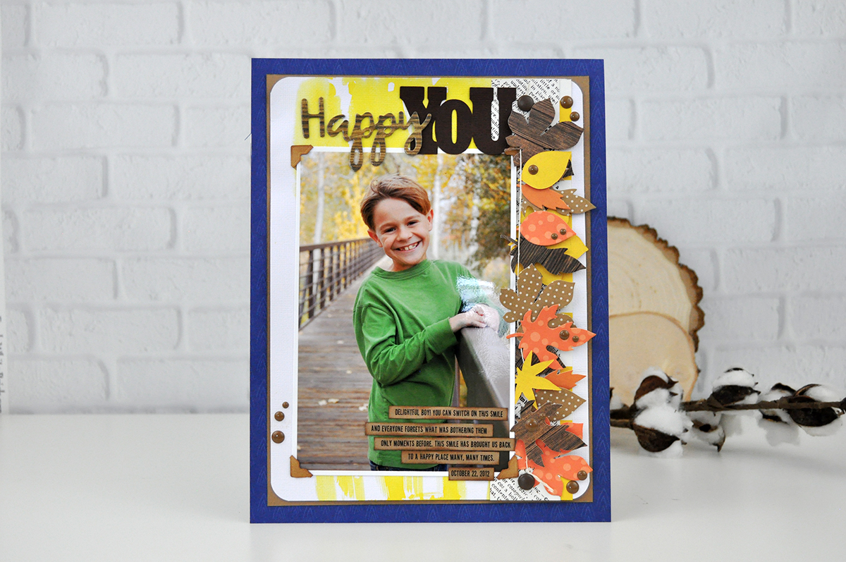 """""""Happy You"""" Autumn Scrapbooking Layout by Jen Gallacher. Scrapbooking techniques for fall layouts. #jengallacher #scrapbooker #scrapbooking"""