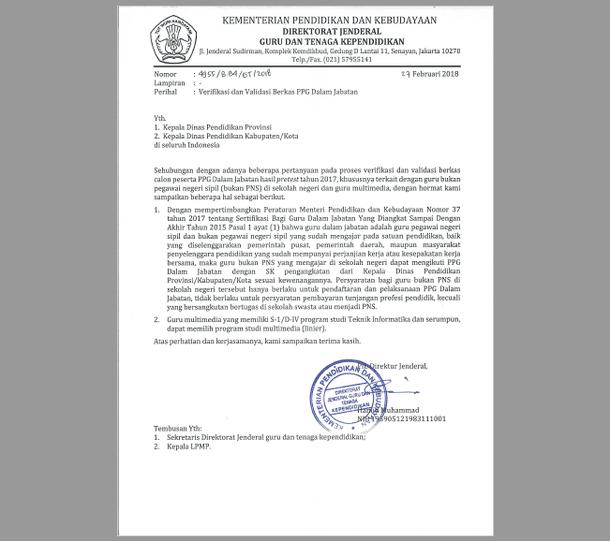 Surat Dirjen GTK Verifikasi dan Validasi Berkas PPG dalam Jabatan
