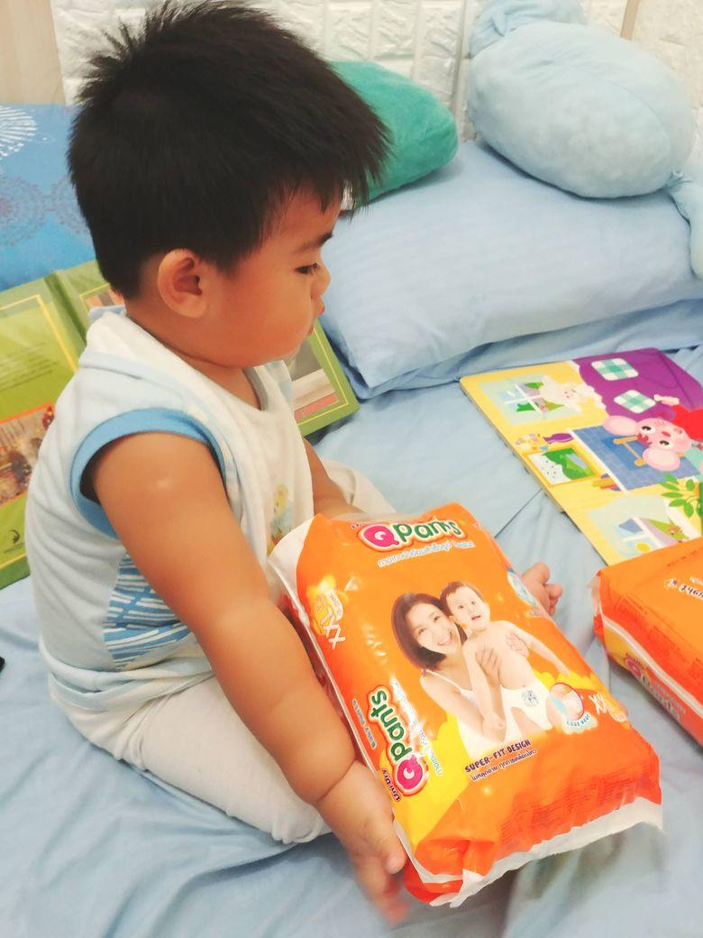Our son Miguel eager to try QPants Baby Diapers