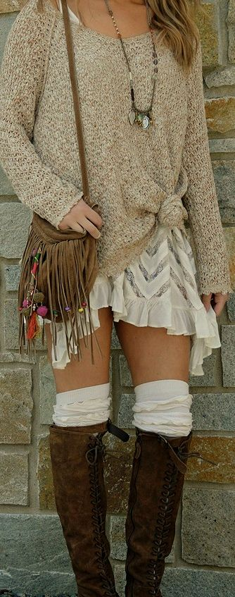 Hippie High Boots With Leather Fringe Purse