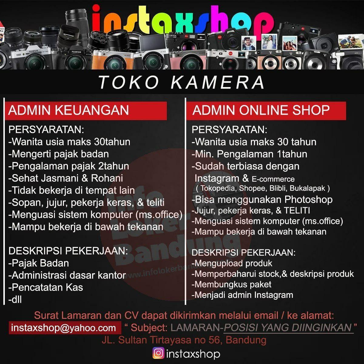 Lowongan Kerja Instaxshop Toko Kamera Bandung Januari 2019