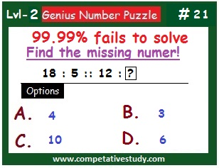 Math Puzzle: Find the missing number: 18 : 5 :: 12 : ?