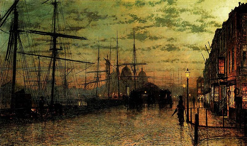 painting of Humber Docks, Hull, by Atkinson Grimshaw to illustrate contre-jour painting