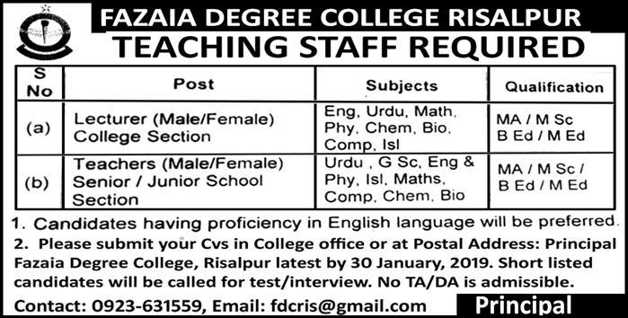 Fazaia Degree College Risalpur Nowshera Jobs 2019 For Lecturer and School Teachers