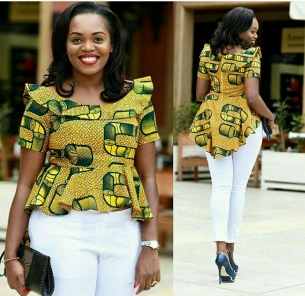 beautiful ankara top on white jeans