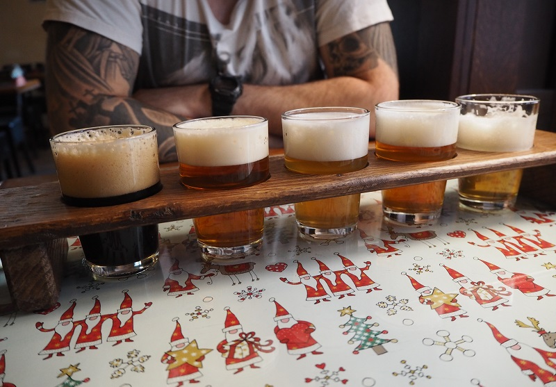 Beer flight in Prague