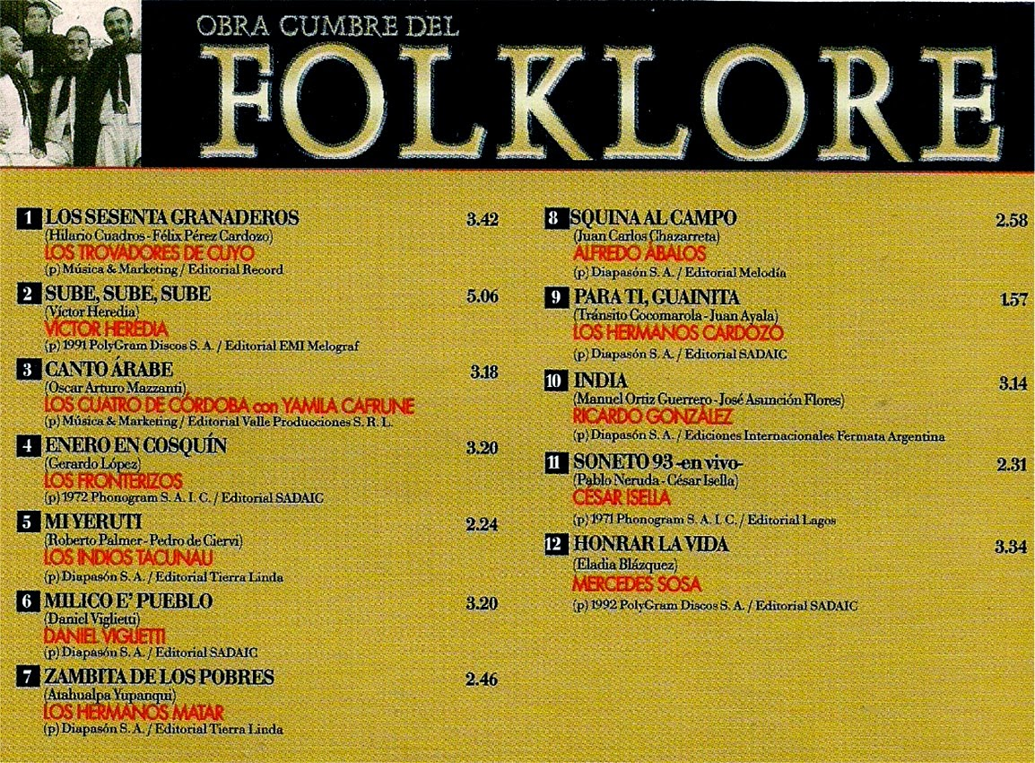 obras cumbres del folklore volumen 31 contratapa