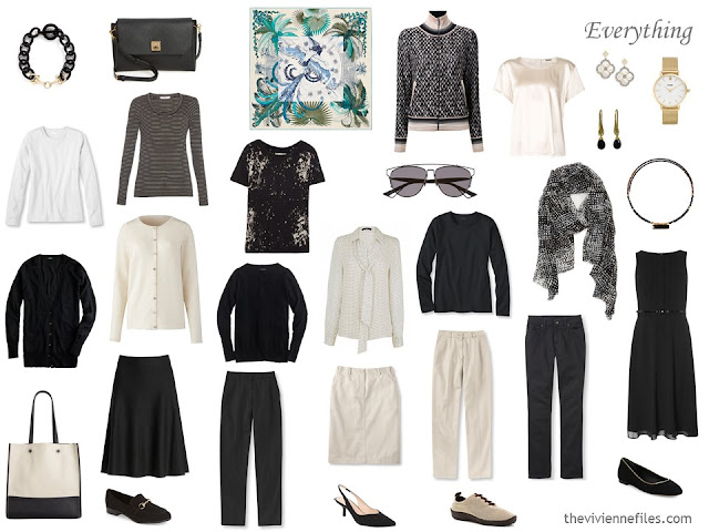 a 16-piece travel or capsule wardrobe in black and beige