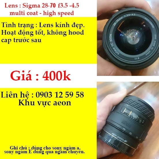 Lens sigma 28-70 f3.5-4.5