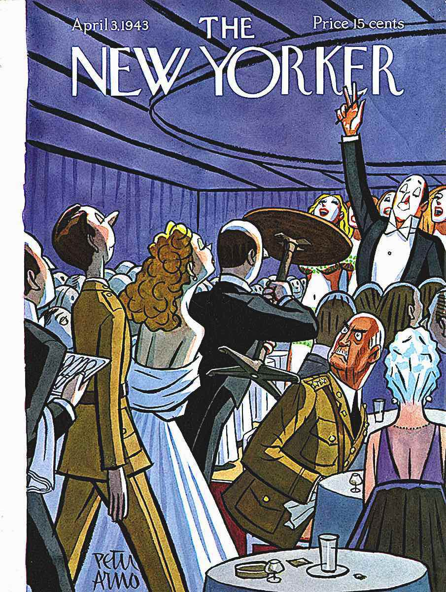 a Peter Arno 1943 cartoon cover for The New Yorker, military protocol in a nightclub