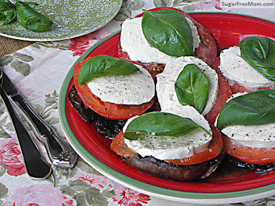 Grilled Caprese-Style Portobellos from Sugar-Free Mom featured in Low-Carb Recipe Love on Fridays (9-2-16) found on KalynsKitchen.com