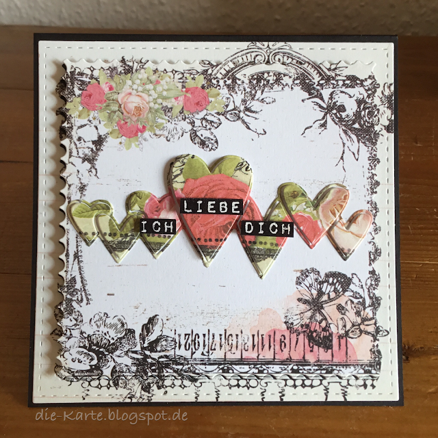 """Square Scallop Edge Frames"" Dienamics Die  MFT-927, ""Heart Parade"" Simon Says Stamp Die, ""German Label Love"" Altenew, ""Lyric Collection"" A4 Prima Marketing Inc."