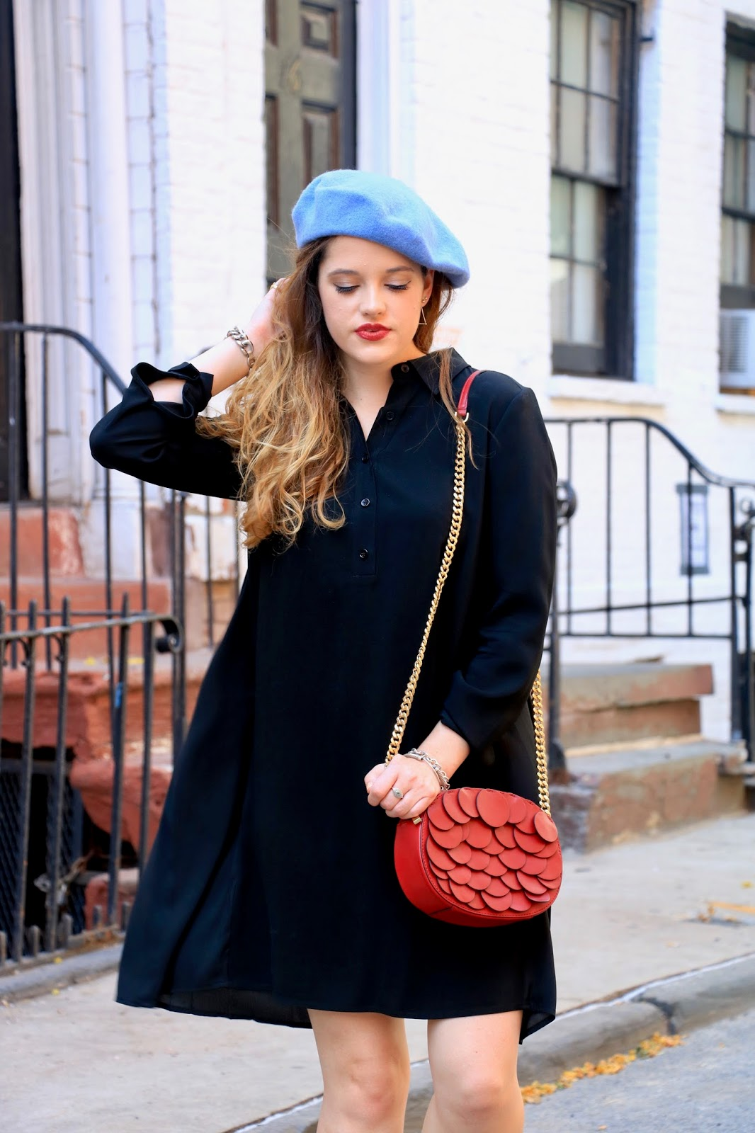 Fashion blogger Kathleen Harper showing off beret outfit ideas