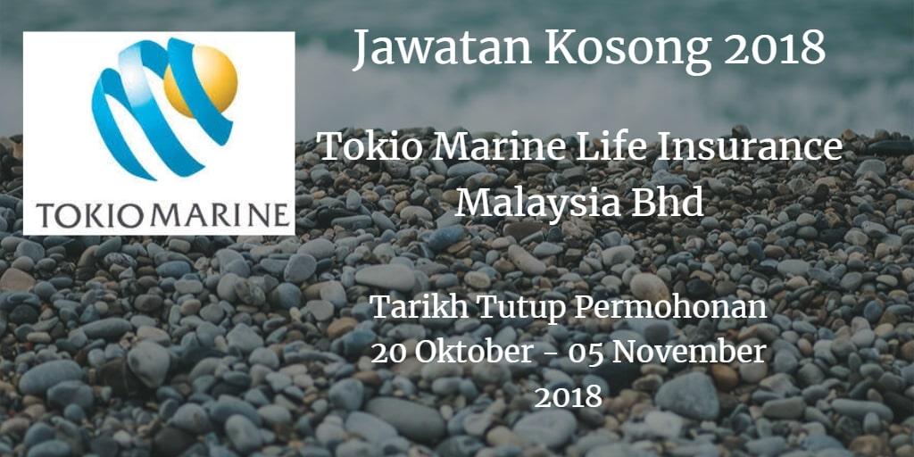 Jawatan Kosong Tokio Marine Life Insurance Malaysia Bhd 20 Oktober - 05 November 2018