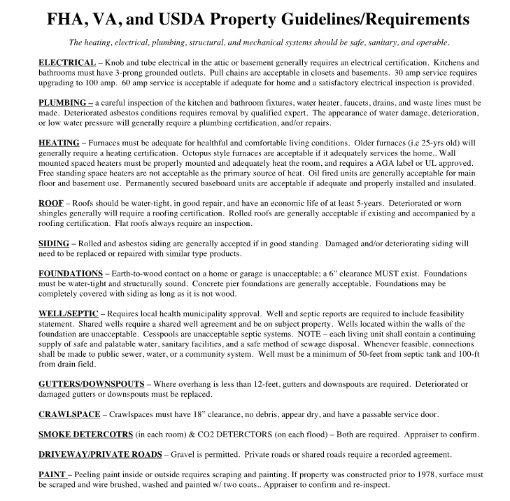entucky FHA, VA, USDA  Appraisal Requirements for Mortgage Loans.