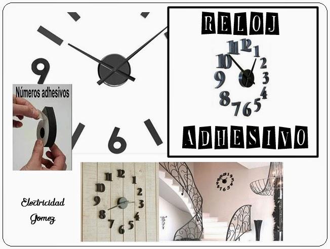Reloj de pared adhesivo negro