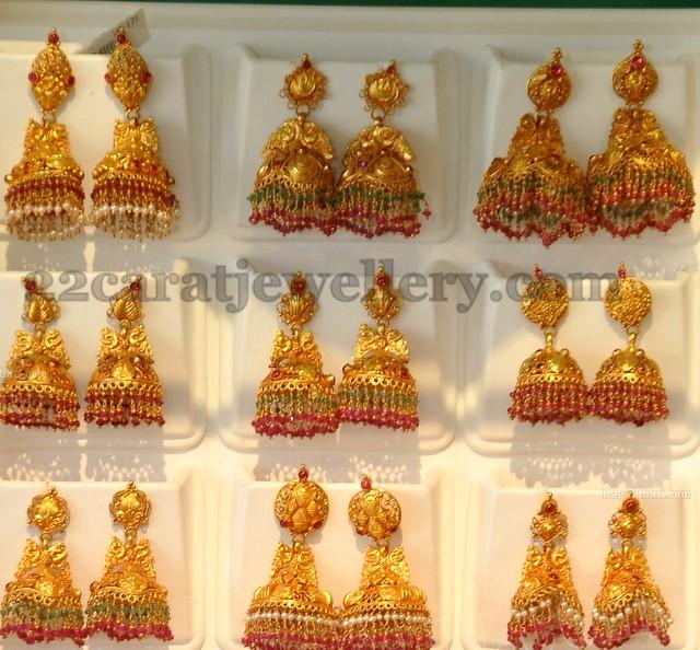 9c0bf0bded47c Gold Jhumkas by Khazana - Jewellery Designs