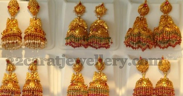 378bb3f3dd4 Gold Jhumkas by Khazana - Jewellery Designs