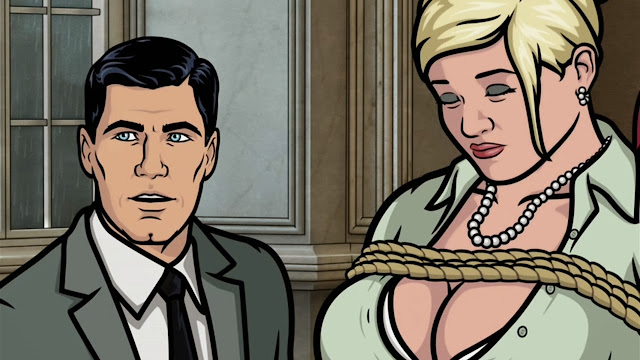 Archer's wondering how to get Christina Hendricks to co-star with Pam in this tit bondage porno.