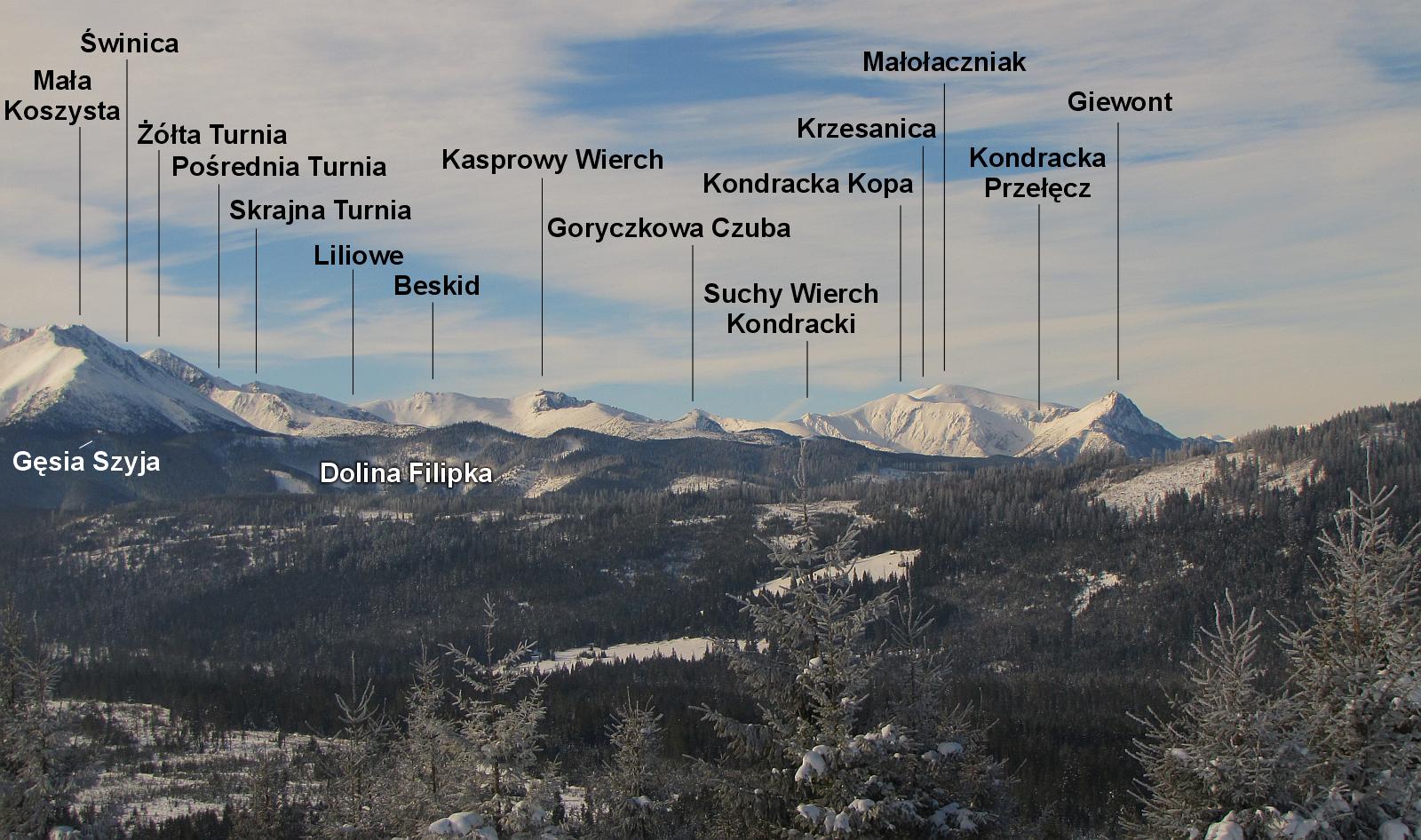 Masyw Koszystej, Skrajna Turnia, Beskid, Kasprowy Wierch, Czerwone Wierchy, Giewont.