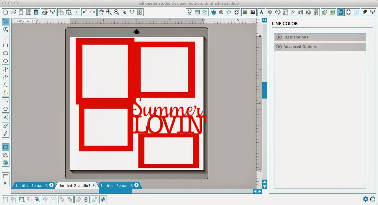Silhouette Studio, Silhouette tutorial, frame, text, scrapbook layout, weld