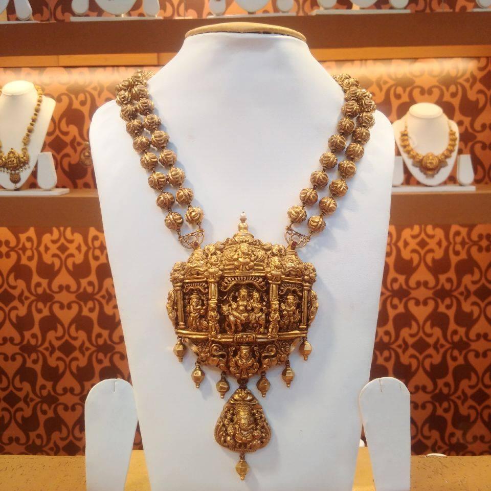 gold nakshi work haram designs 22kgolddesigns