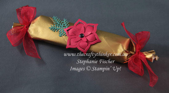 #thecraftythinker, #christmasgiftwrapping, #paperpoinsettia, #stampinup, poinsettia, Xmas gift wrapping, Eastern Medallions, Stampin' Up Demonstrator, Stephanie Fischer, Sydney NSW