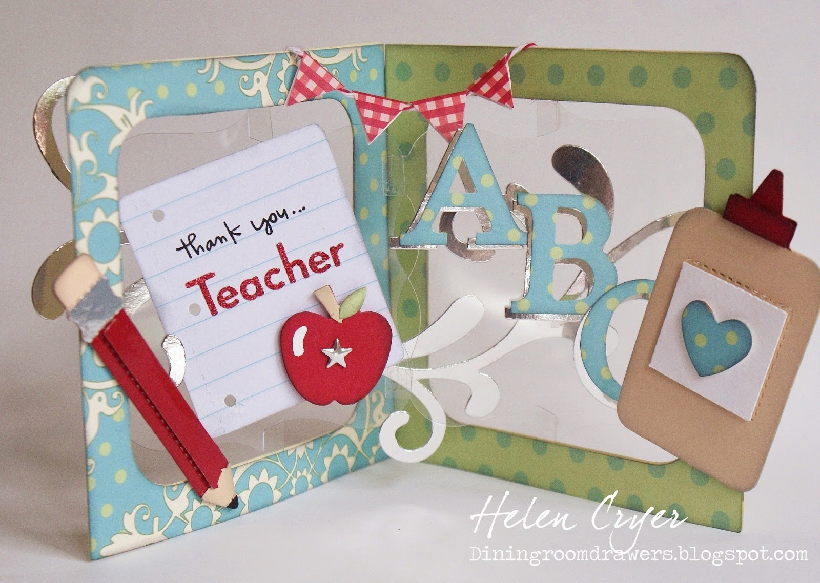 the dining room drawers thank you teacher pop 'n cuts card