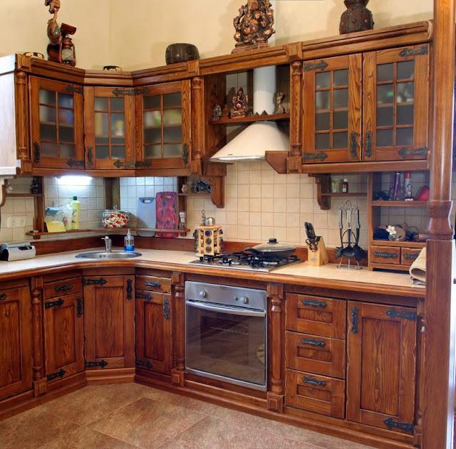 tủ bếp gỗ tự nhiên - mẫu số 2