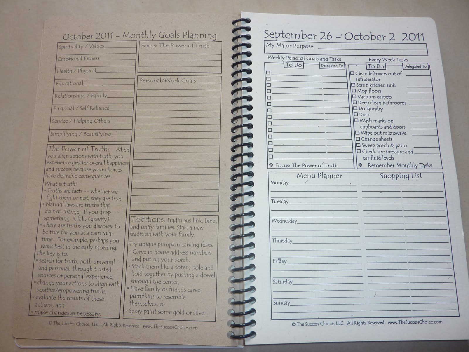 The Right Page Is Weekly Goal Setting With Topics Of