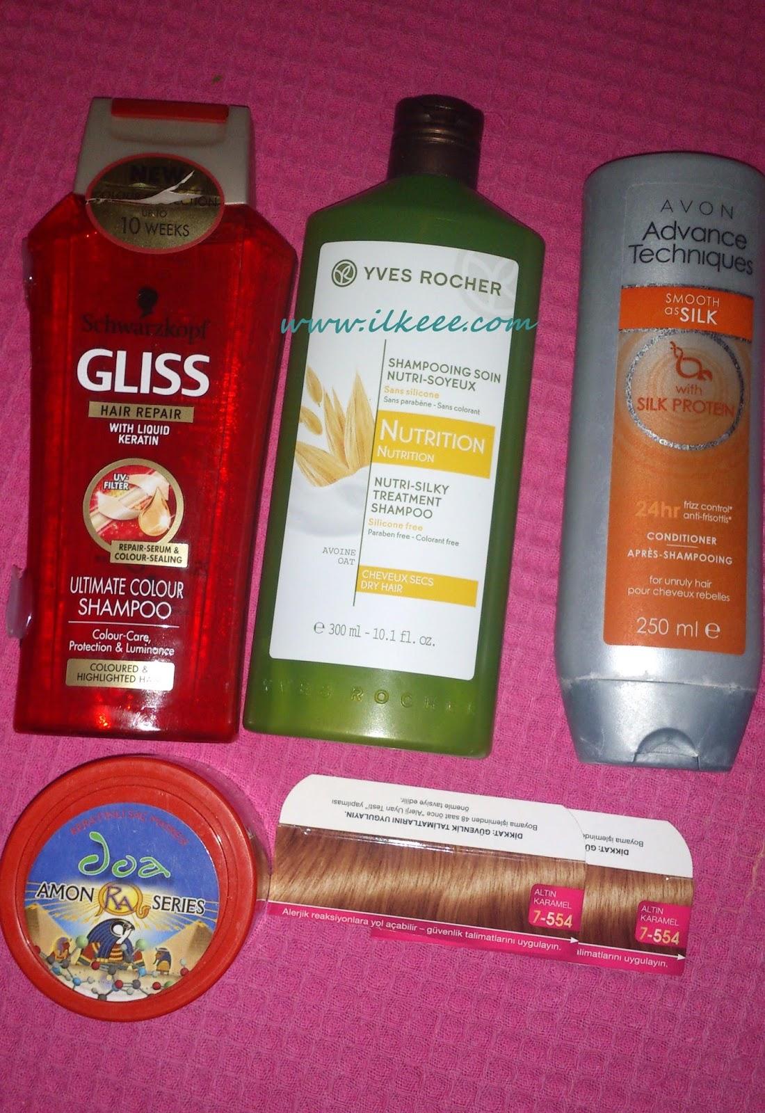 Gliss Boyalı Saçlar Şampuanı - Onarıcı Bakım - Koruyucu Bakım - Yves Rocher şampuan kullananlar - Yves Rocher Besleyici Şampuan - Doa Keratin Maskesi - Keratin maskesi kullananlar - Palette Saç boyası - Palette 7-554 boya