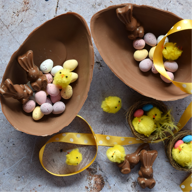 Chocolate Easter eggs filled with mini eggs and Malteser chocolate rabbits