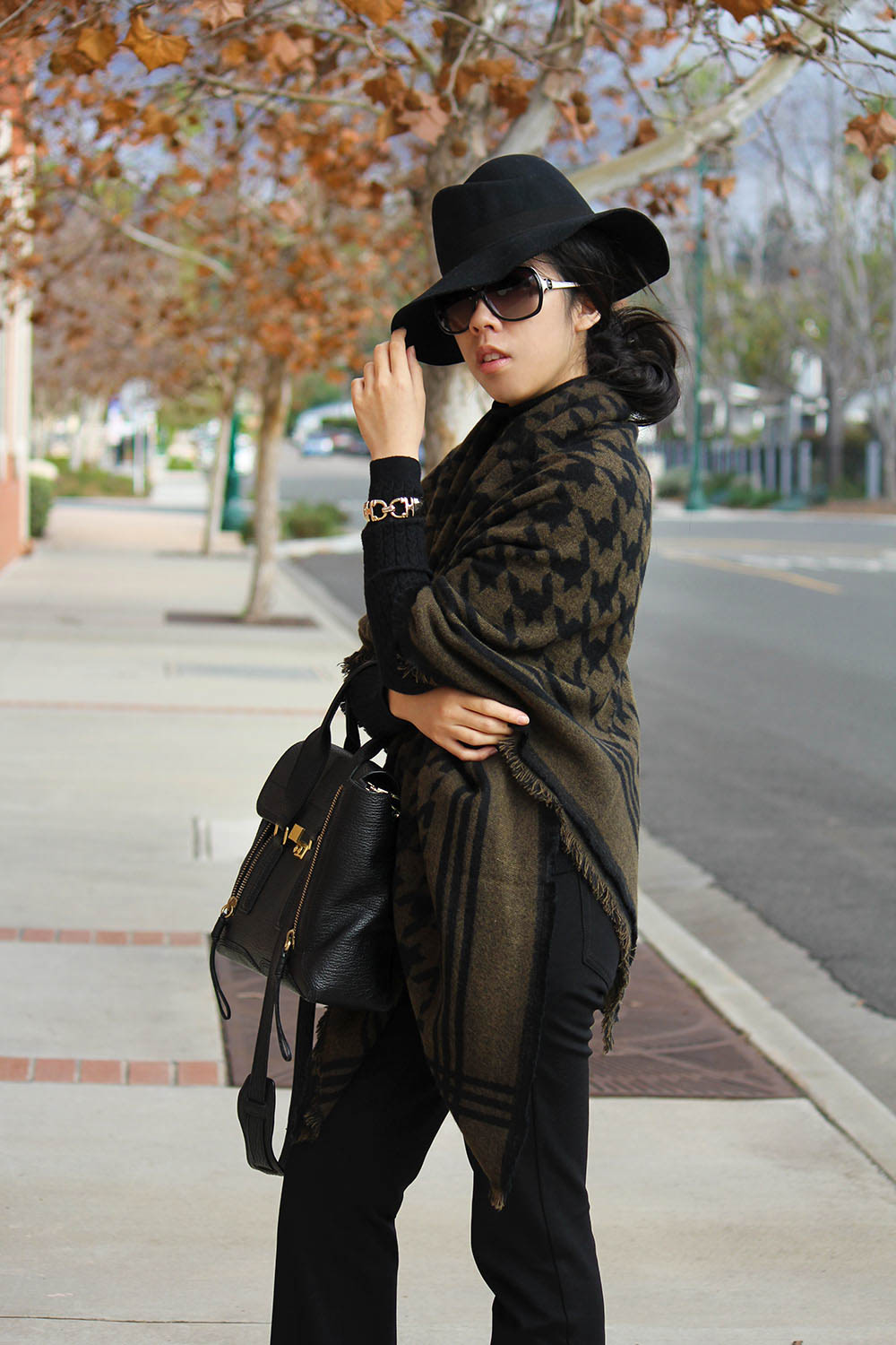 Adrienne Nguyen_Invictus_Black Flare Pants with Houndstooth Scarf