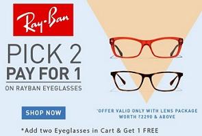 Amazing Offer: Buy 1 Get 1 FREE Offer on Rayban Eyeglasses @ Lenskart