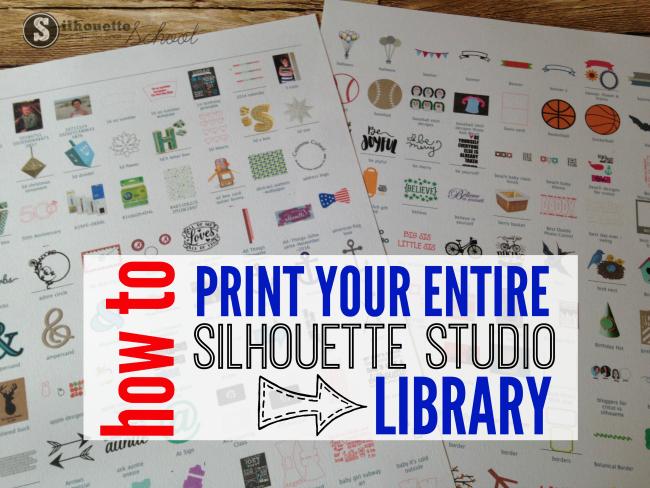print Silhouette Studio library, studio library, silhouette designs, silhouette cameo tutorials