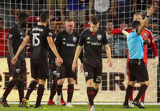 Wayne Rooney Breaks Nose While Defending Corner For DC United
