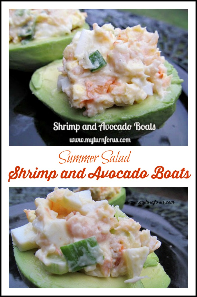 Homemade shrimp salad in an avocado half