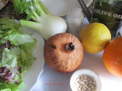 Ensalada de hinojo, naranja y granada