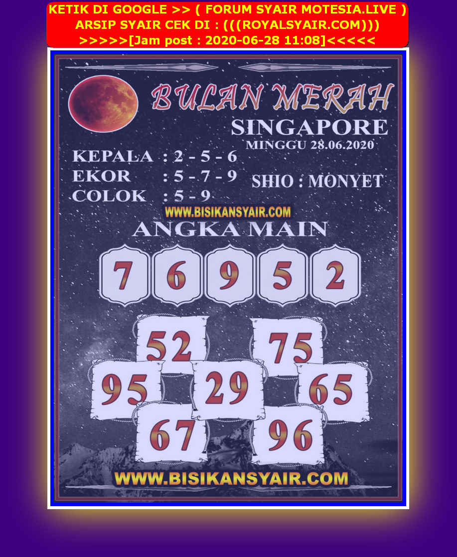 Kode syair Singapore Minggu 28 Juni 2020 155