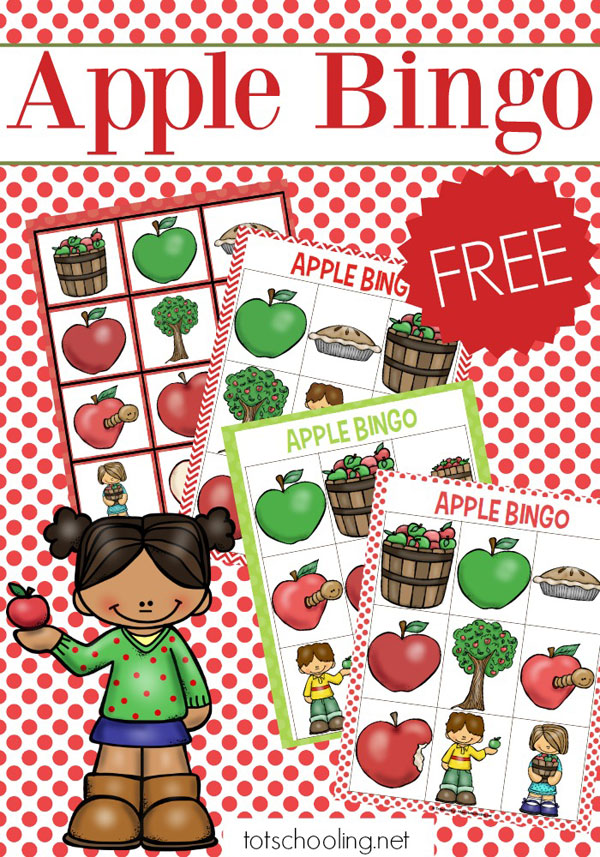 graphic regarding Fall Bingo Printable called Apple Bingo Totschooling - Baby, Preschool