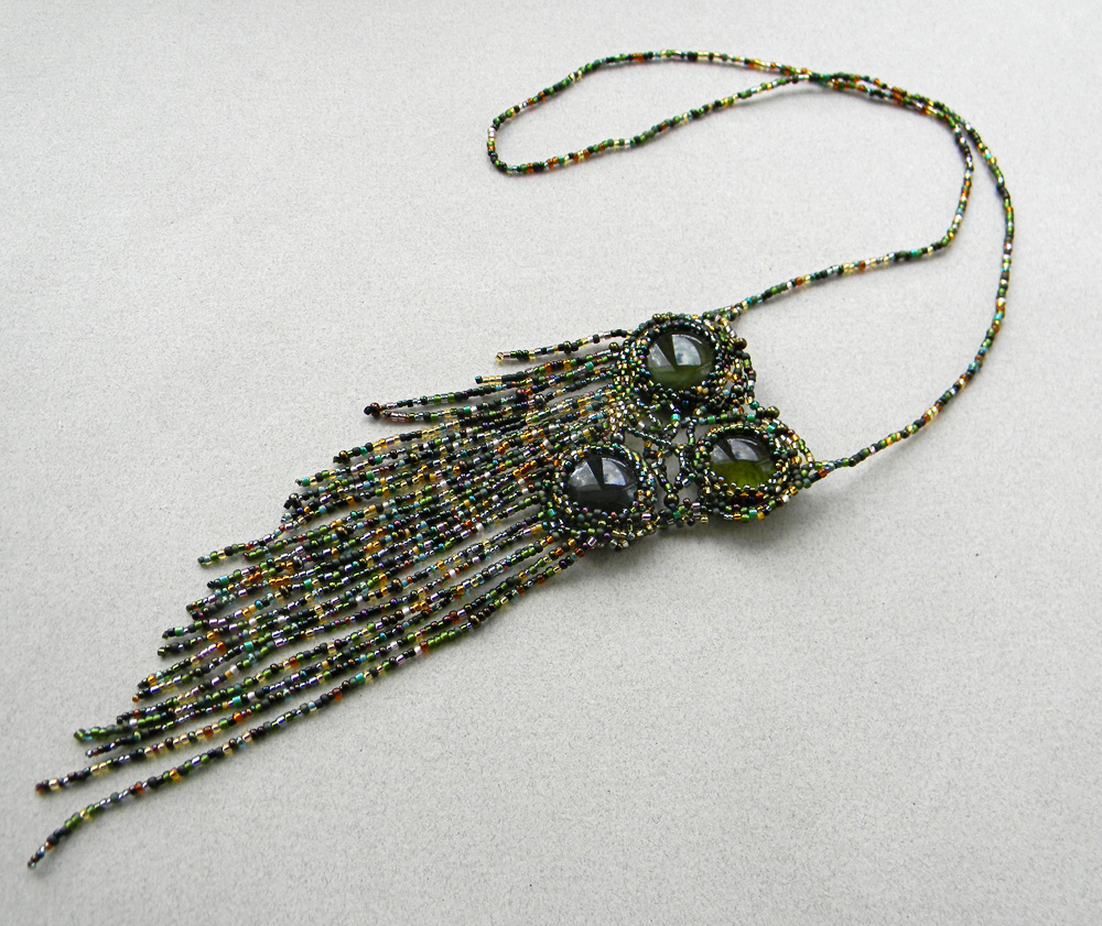 beaded necklace green freeform necklace beadwork jewelry
