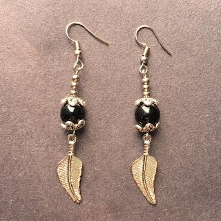Black Onyx Bead Dangle Earrings