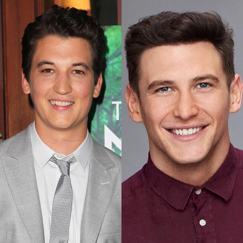 Blake from Bachelorette and Miles Teller look alikes