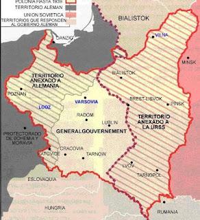 Polonia dividida entre la Alemania Nazi y la URSS