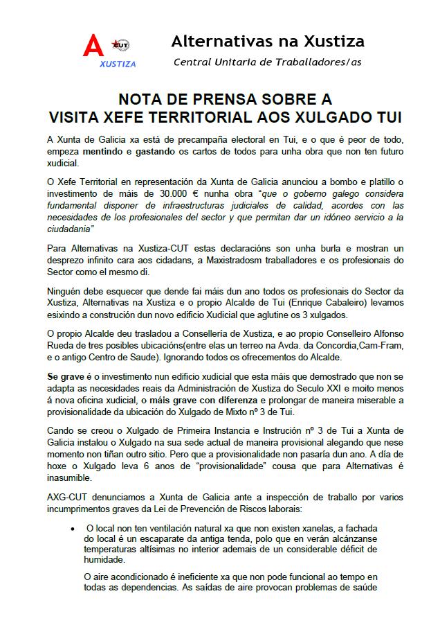 Nota de prensa sobre a visita do xefe territorial de Xustiza aos xulgados de Tui