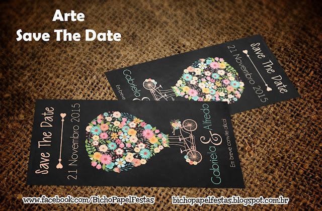 Arte Save The Date casamento chalkboard identidade visual bicicleta